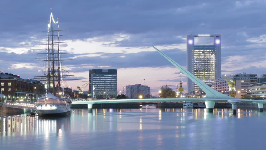 Puerto Madero harbor, Buenos Aires. Photo time-lapse from dusk to night - zoom out | Shutterstock HD Video #2298776