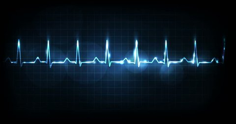 Heart rate monitoring. Beautiful bright glowing design on a dark blue background