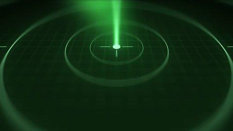 Modern Submarine radar sonar with object on map - Alt Angle