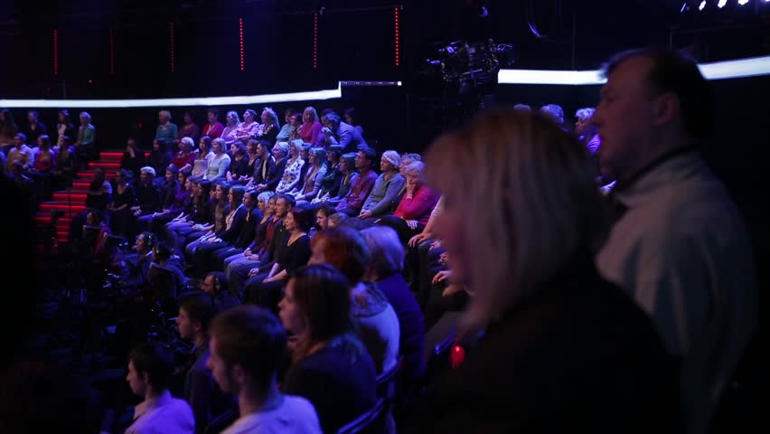 KYIV, UKRAINE - NOVEMBER 3, 2015. The entry of television in the TV Studio. The audience clapped their hands.