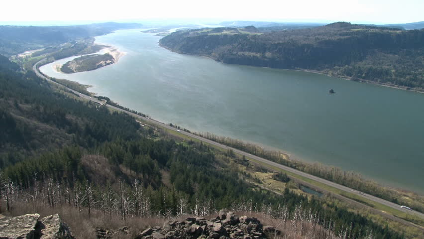Time Lapse from high vantage point atop Angel's Rest in the Oregon Gorge shows the Columbia River, Washington state, Oregon state and Interstate 84 with traffic. | Shutterstock HD Video #2306246