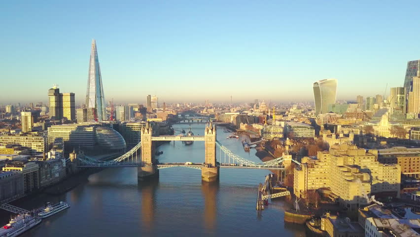 Aerial cityscape view of London and the River Thames, England, United Kingdom - Crane up video | Shutterstock HD Video #23062936