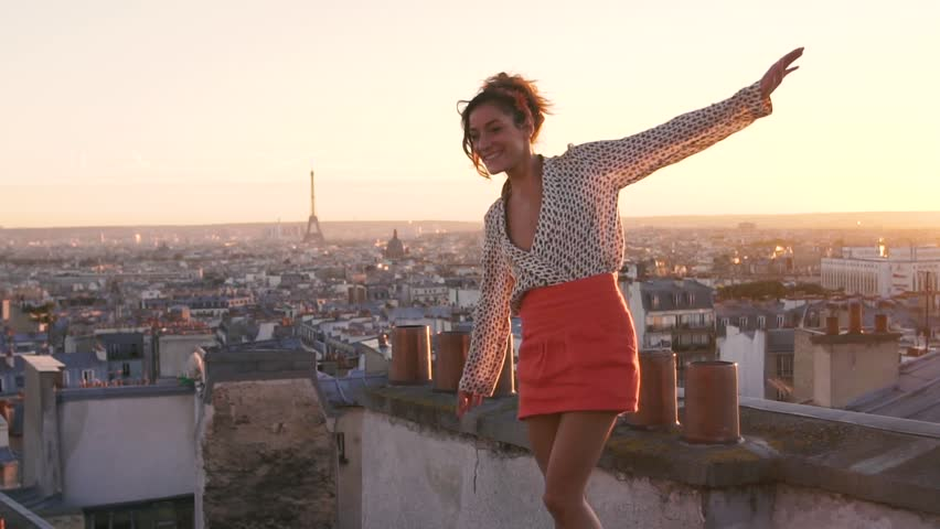 Paris, Happy woman enjoying view on the roofs, slow motion, HD movie (1920X1080)