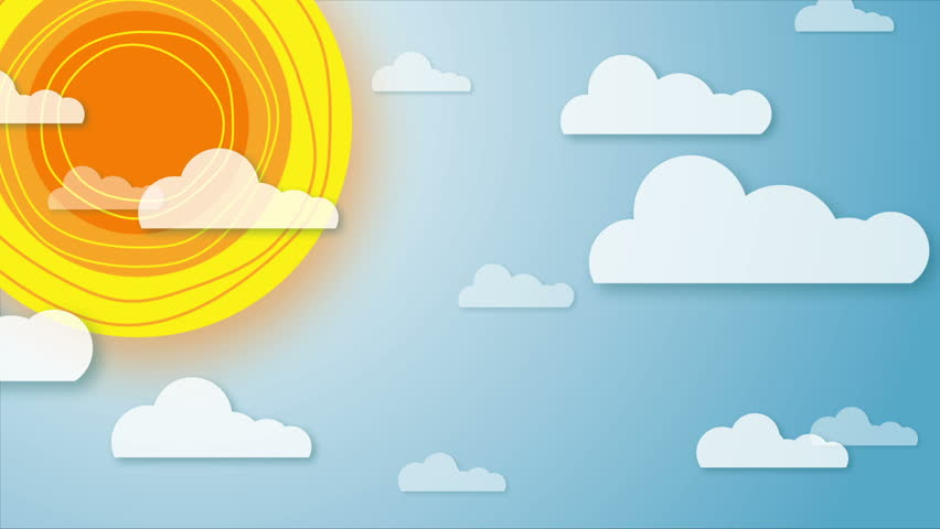 Beautiful Cartoon Sun And Puffy Clouds Hovering In Blue ...