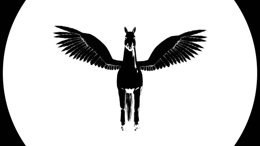 Pegasus Silhouette. Alpha channel. 4K video. Isolated. Ultra hd.