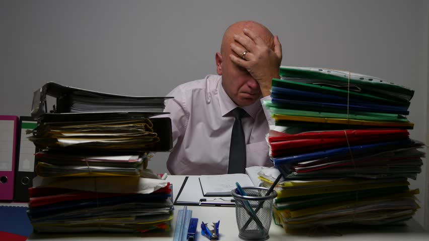 Businessman in Archive Room Surrounded by Files Looking Sad and Disappointed. (Ultra High Definition, UltraHD, Ultra HD, UHD, 4K, 3840x2160) | Shutterstock HD Video #23135926