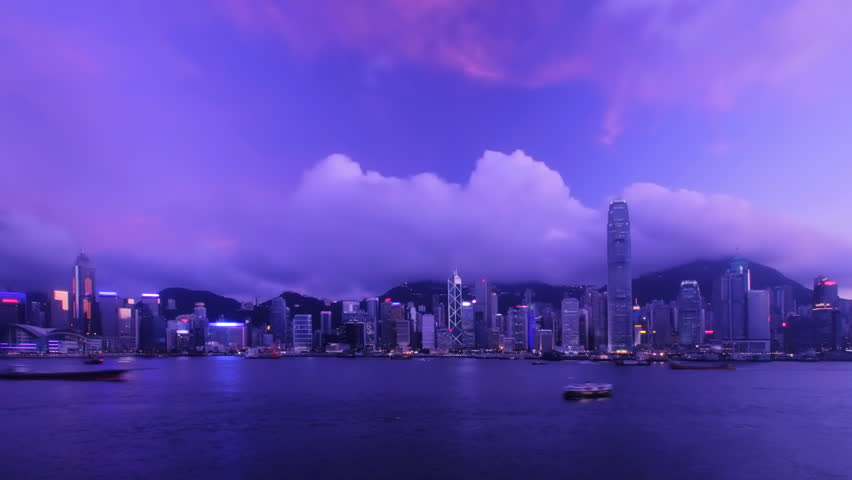 Time-lapse - Hong Kong Harbour [sunset to night] | Shutterstock HD Video #2315306