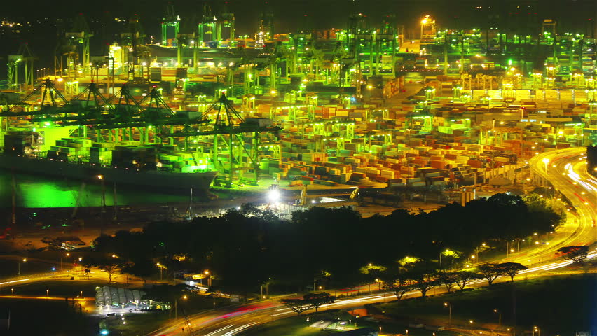 Port of Singapore at night, timelapse