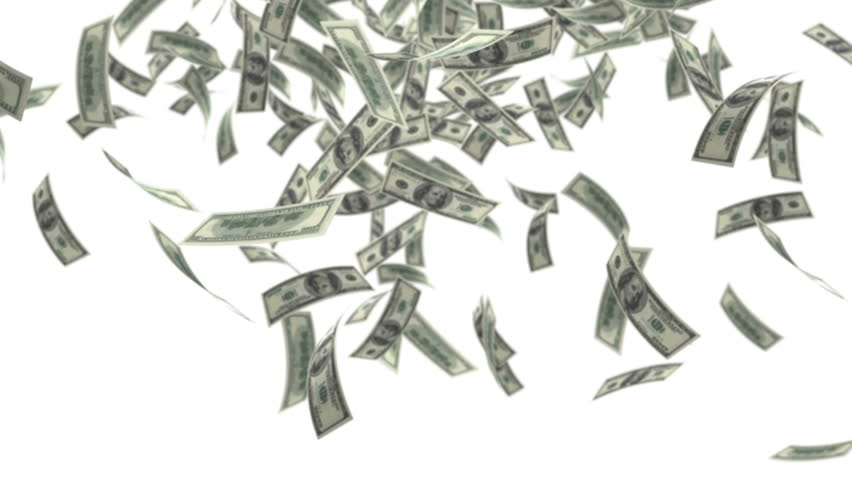 One hundred dollar bills falling through air.