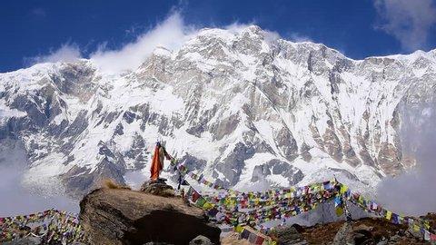 Mt. Annapurna I (8,091m) with prayer flag from Annapurna base camp ,Nepal.