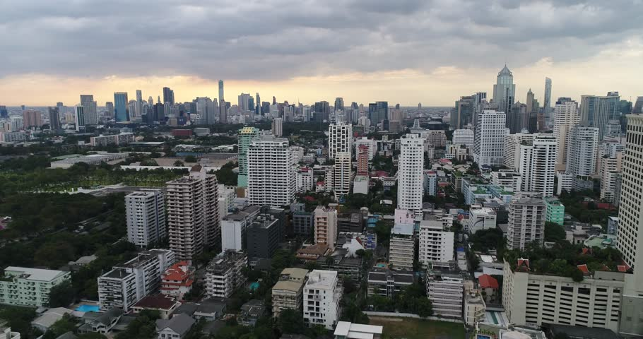 Aerial Footage of Bangkok, Thailand on the Horizon | Shutterstock HD Video #23234596