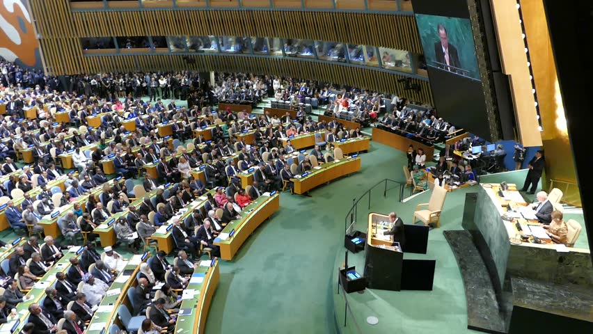 NEW YORK, USA - September 20th 2016: General view of the conference room of 71st session of the United Nations General Assembly in New York. UN Secretary General Ban Ki-moon gives a speech.