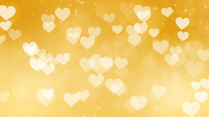 Golden Heart Particles... Light Colourful Backgrounds