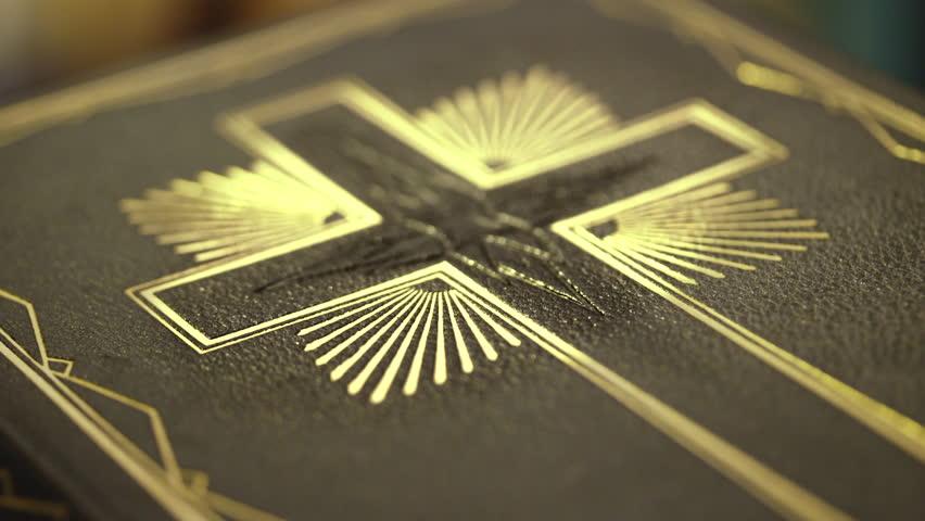 Close up of old Holy bible book, USA, Jan 2017