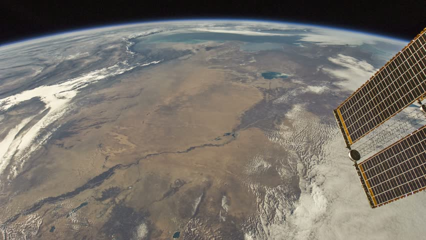 Kazakhstan to Africa. Visible are South Atlantic Ocean, west of South Africa, Namib Desert, border of Kazakhstan and Uzbekistan, Sudan, Red Sea, Dahlak Archipelago, Arabian Peninsula, Zagros Mountains