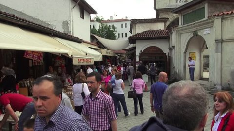 Tourists visiting the old street of the historic town of Safranbolu, Safranbolu, on May 31, 2014