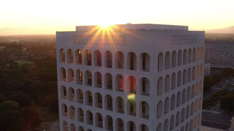 Oct 2016 Italy Rome eur. Square Colosseum . Fascist architecture, colonnade and palace. Backlit. Aerial drone.