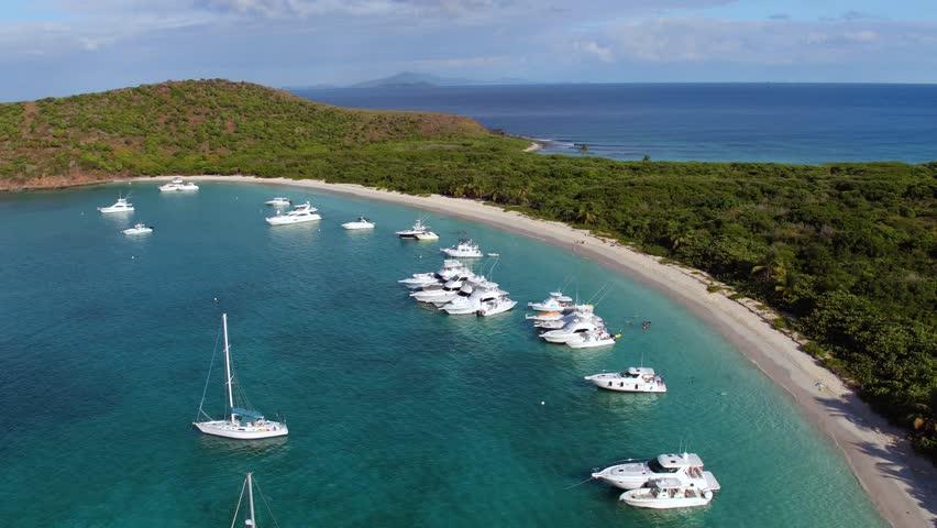 aerial view of turtle beach, culebrita, playa tortuga, Puerto Rico,  Spanish Virgin Islands