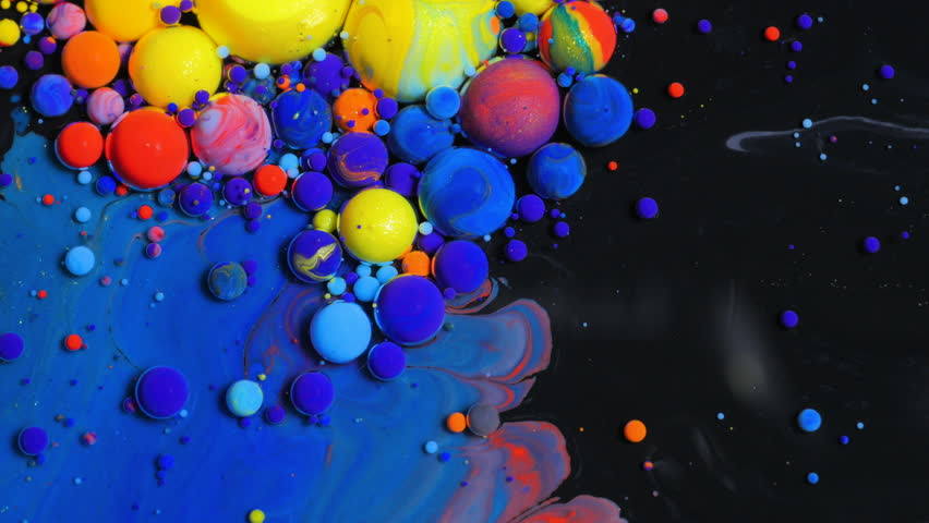 Bright Collors Bubbles Slow Motion Oil Beautiful Paint Surface Red Blue Black And Yellow Universe Of Color Moving Multicolored Macro | Shutterstock HD Video #23385490