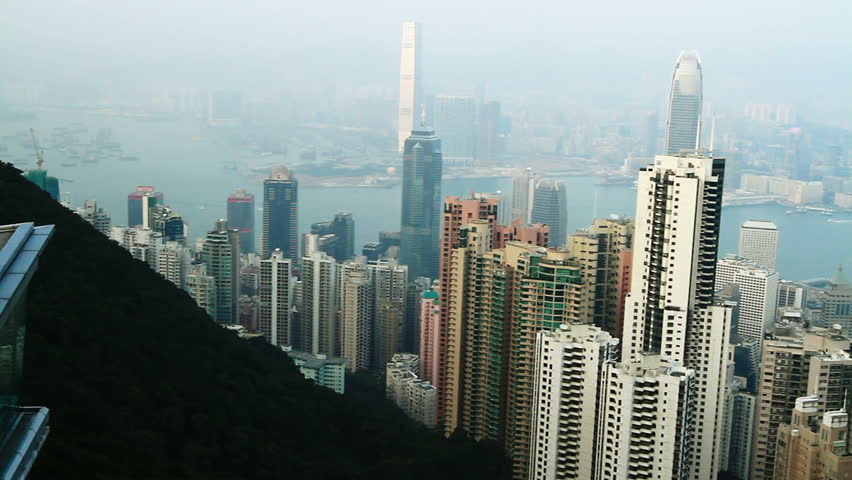 Hong Kong cityscape panorama at daytime. View from Victoria peak   Shutterstock HD Video #2340416