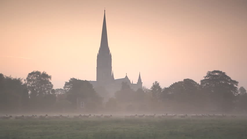 Salisbury cathedral at dawn looking across the water meadows.