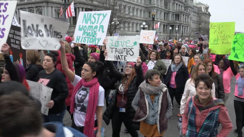 WASHINGTON, DC - JAN. 21, 2017: Women's March on Washington on 17th St. near White House;
