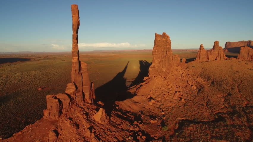 Monumen Valley Aerial Totem Pole 21 Sunset Desert and Rock Formation in Arizona USA