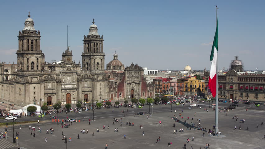 time-lapse of the zocalo in mexico city, with the cathedral at night