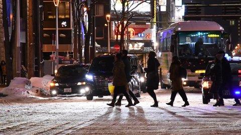 The city center of Sapporo city in January 2017 Hokkaido, Sapporo, Japan