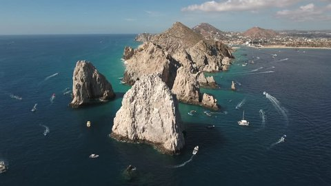 Aerial shot of El Arco arch. Cliffs and rocks - Cabo San Lucas, Mexico