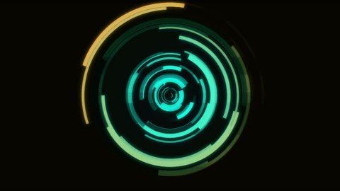 Interference Rotating Digital Round GUI Interface Elements   -   Video Footage