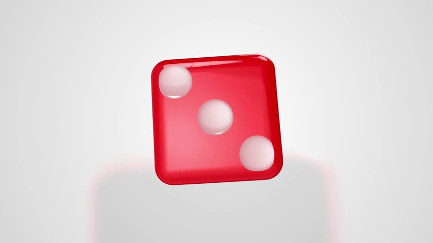 Rolling Red Dice Ends at Three 3D Animation with Alpha