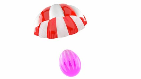 Easter egg with parachute isolated on white background