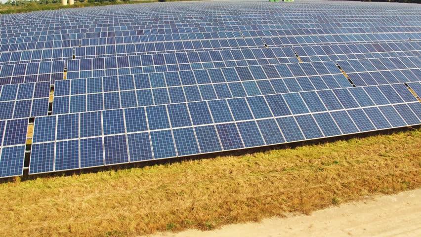 Aerial/Drone footage of a solar farm.    Shutterstock HD Video #23575066