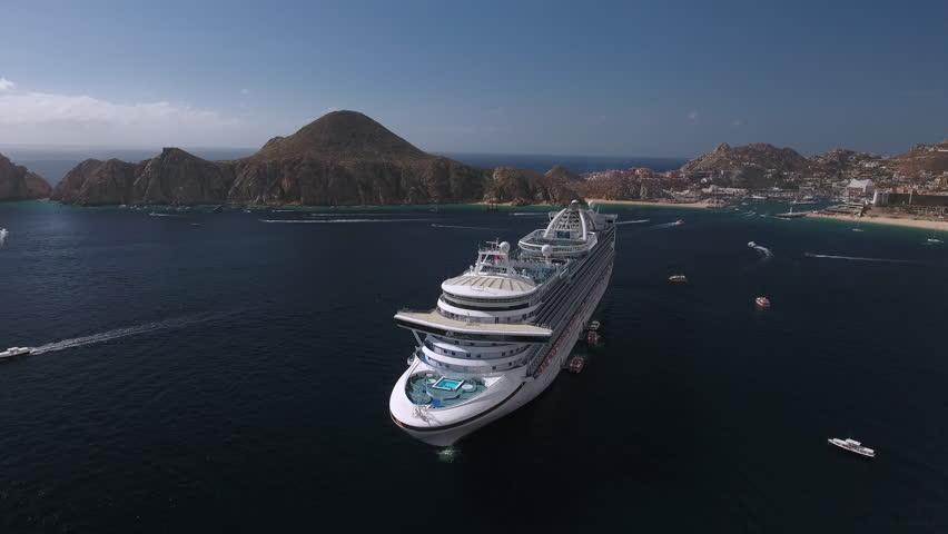 Aerial view of cruise ship in a tropical bay - December 2016. Adventure of the seas, Cabo San Lucas, Mexico