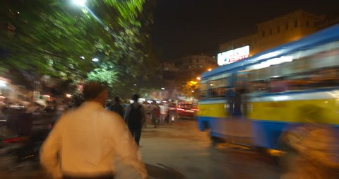 Time lapse of traffic in busy Calcutta, India.