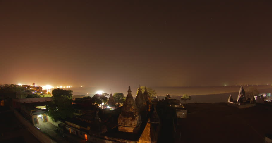 Time lapse of temples in Varanasi, India.