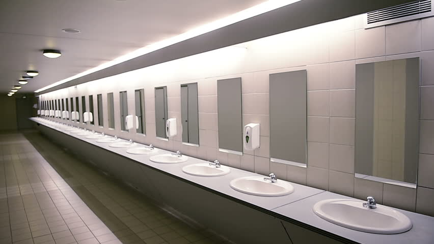 Public empty restroom with washstands and mirrors - slow focusing perspective view - concept of hygiene, cleanliness    #23593819