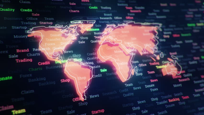 Technological background with changing words about technologies, social nets, business and money, communication and social marketing. Symbol of earth globe with glowing glass surface. Seamless loop. | Shutterstock HD Video #23604808