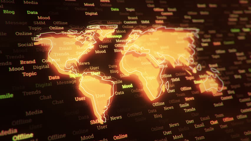 Technological background with changing words about technologies, social nets, business and money, communication and social marketing. Symbol of earth globe with glowing glass surface. Seamless loop. | Shutterstock HD Video #23606116