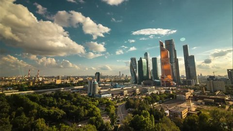 sunny summer day moscow world trade center Moscow city skyscrapers sunset panorama 4k time lapse russia