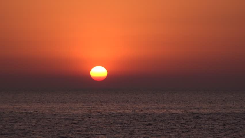 4K Sunset Beach, Sunrise on Seashore, Ocean View Sundown, Coastline in Summer