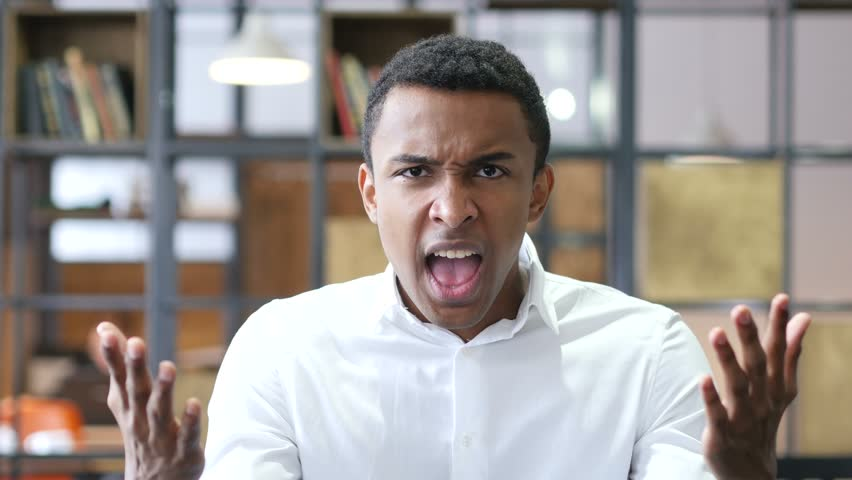 Angry Black Man Yelling in Office | Shutterstock HD Video #23670466