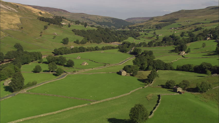 Track Down Swaledale Over Stone Walls And Barns | Shutterstock HD Video #23700796