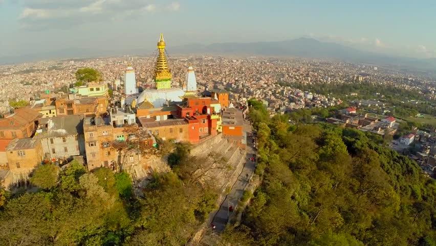Aerial shot before earthquake Monkey Temple (Swayambhunath) in nepal see the landscpae