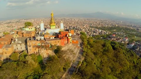 Aerial shot before earthquake Monkey Temple (Swayambhunath) in nepal see the landscpae