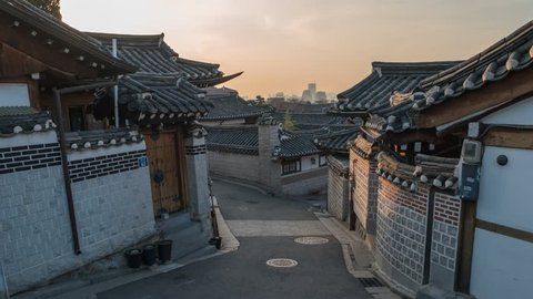 Timelapse at Seoul Bukchon Hanok Village, Seoul, South Korea, 4K Time lapse
