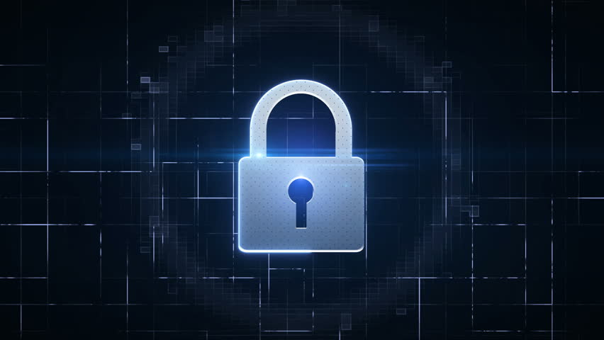 Computer security with padlock.