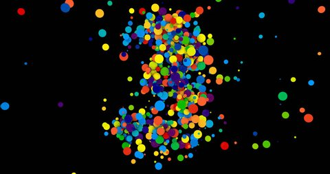 3d animation. Counting down. Scatter object. 123. Multi-colored balls. The dynamic animation. Animated text. Alpha channel.