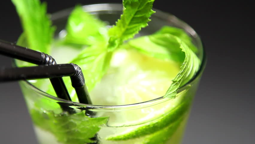 Mojito cocktail on black background rotation #2379659